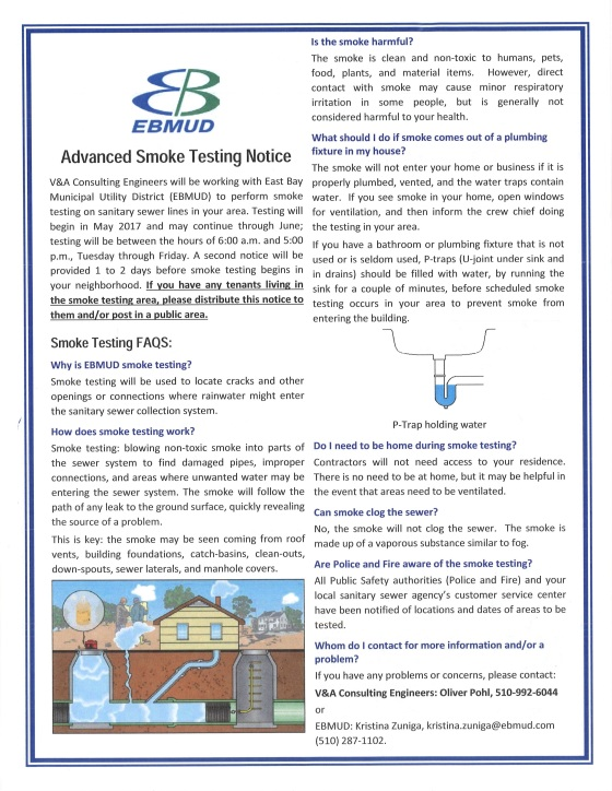 EBMUD Advanced Smoke Testing Notice - English